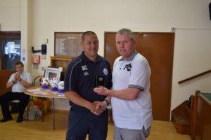 Incoming Club Development Officer Sean Crooke Receives the Club Secretary Award 2016 From Deputy Chairman Brian Slyfield