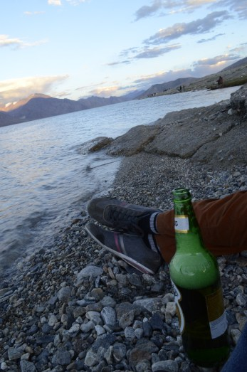 Well, you must must have a beer if you're sitting by the Pangong and aren't already high with all that beauty