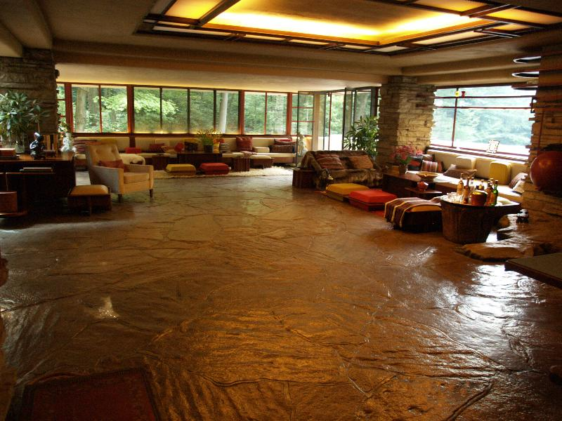 Fallingwater pictures: living room, from entrance (Frank