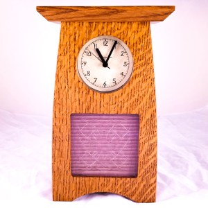 Arts Crafts Clock with Frank Lloyd Wright Luxfer Prism
