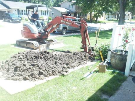 Excavation in Beatrice, Nebraska servicing residential water line.