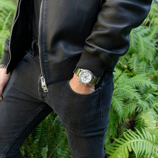 Fatique-green-wrist-hardware-black-jacket-sq
