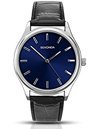 SEKONDA Men's Quartz Watch with Blue Dial Analogue Display and Black PU Strap