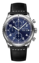 Navitimer 8 Chronograph with blue dial and black leather strap. (PPR/Breitling)