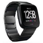 Product render of Fitbit Versa in 3 quarter view in black metal link showing default clock