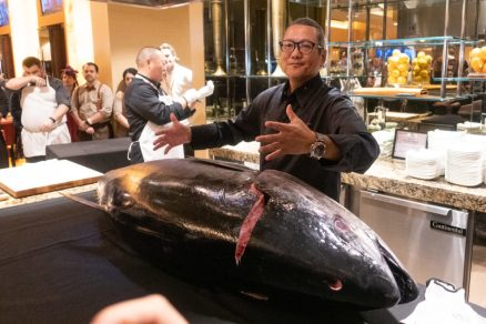 Chef Morimoto gets ready to cut a 250lb tuna.