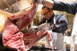 Chef Morimoto cuts up a 250lb tuna at The Mansion box seats during the Breeders Cup