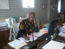 Barbara at work at the Center for Women in Transition
