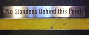 Image, sign on bus.