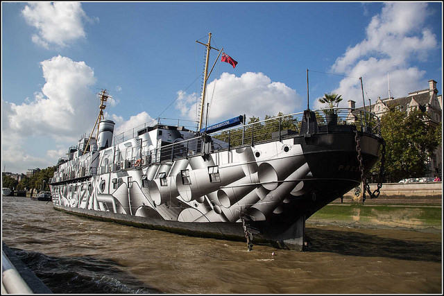 Image, warship with dazzle camouflage.