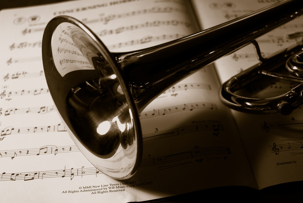 Image, Trumpet on sheet music.