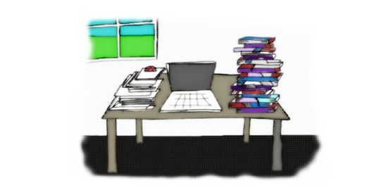 Illustration of writer's desk