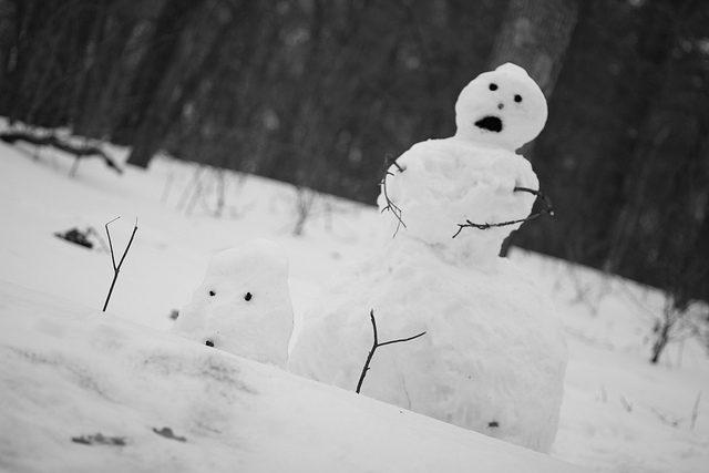 Image, Dismayed-looking snowmen.
