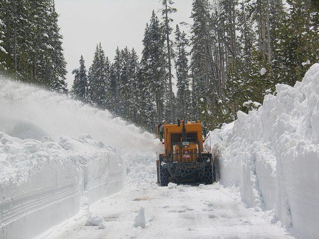 Image, Snowplough clearing a deep snowdrift.