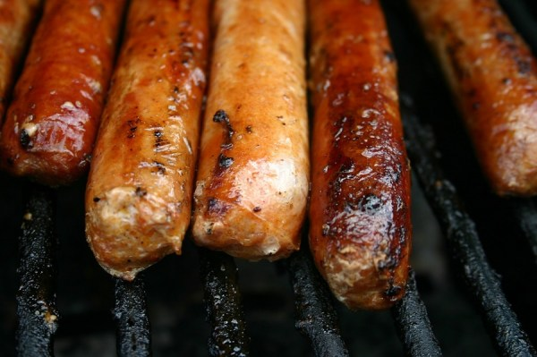 Image, sausages on a barbecue.
