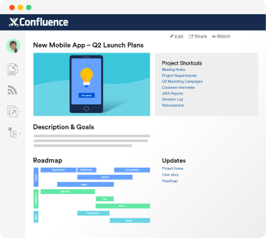 Confluence screenshot with one example of a Confluence landing page