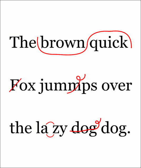 Image, proofreading example of the quick brown fox.