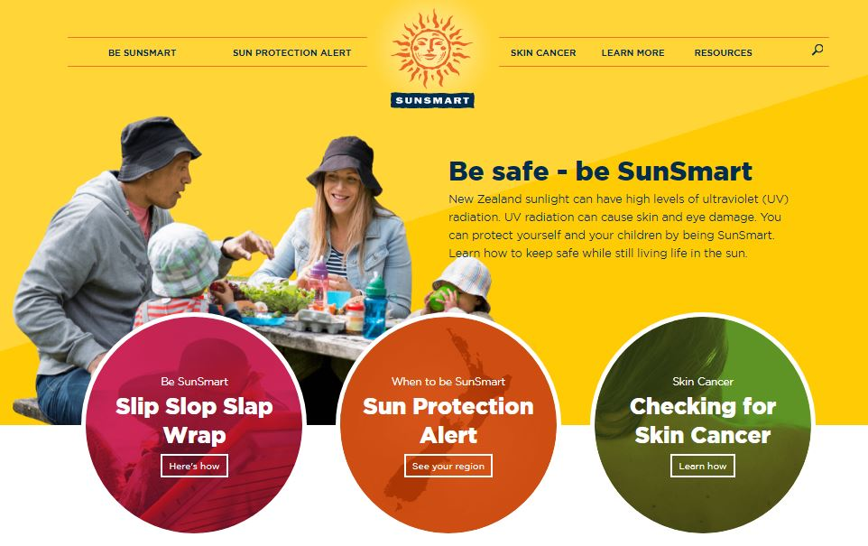Image, Homepage of the SunSmart website.