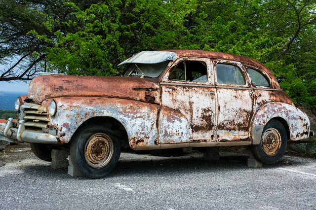 Image, Rusty old car suffering from neglect.