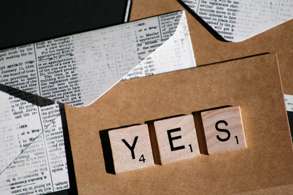 Image, Scrabble letters spelling 'yes'.