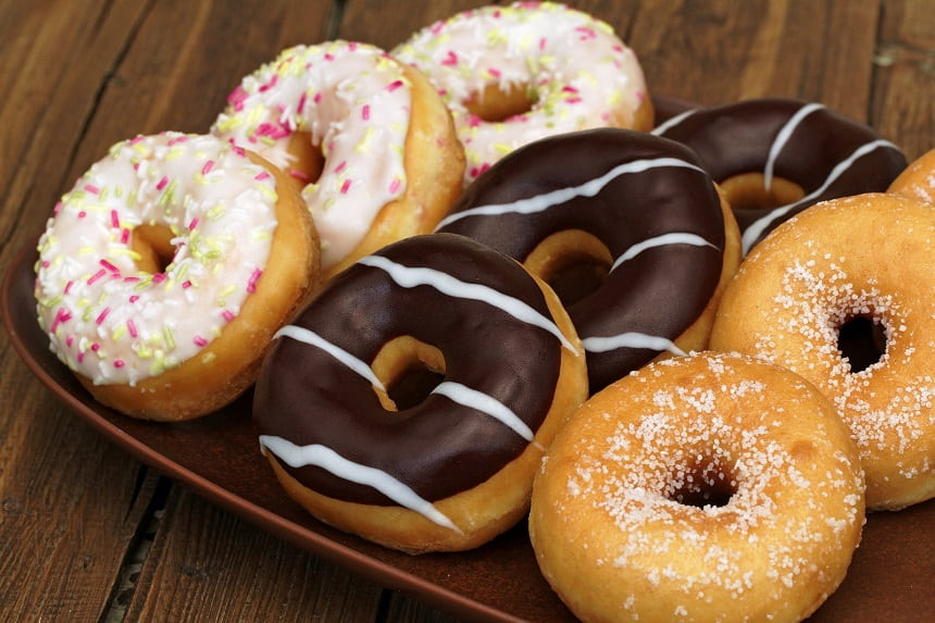 Image, Doughnuts on a plate.