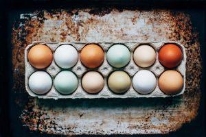 Image, Carton of 12 delicately coloured eggs.