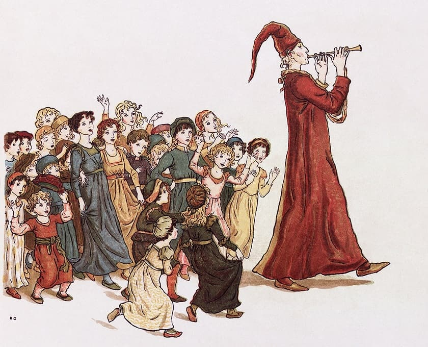 Pied piper attracts children with his music.
