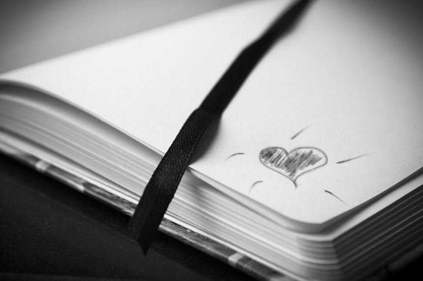 image, black and white photograph of an open address book