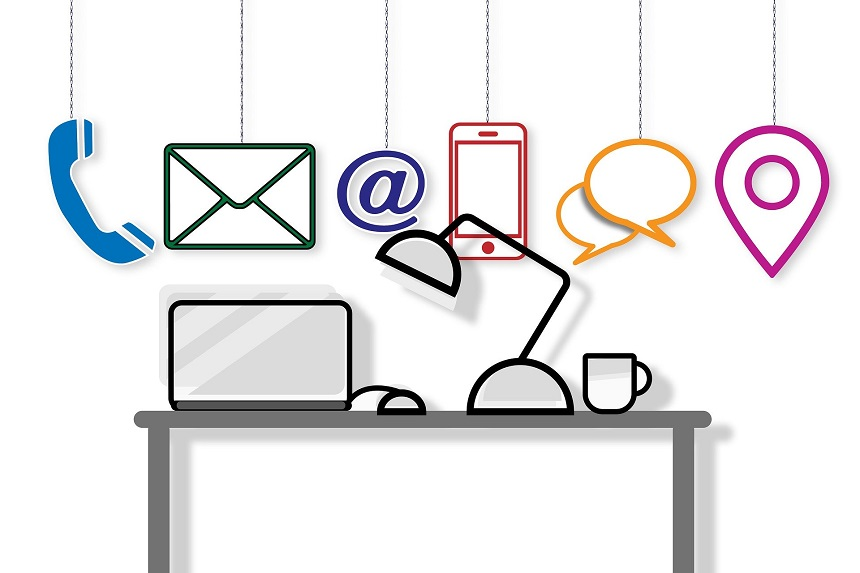 Image, drawing of a laptop, lamp, and coffee cup on a desk with the icons of different communication methods above them