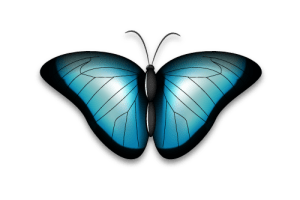 illustration of a butterfly with wings spread (symbol of transformation)