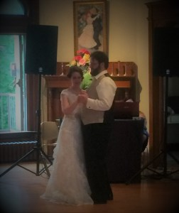 author and wife dancing at wedding