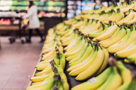 Bananas in a store (from Pexels image by Kio)