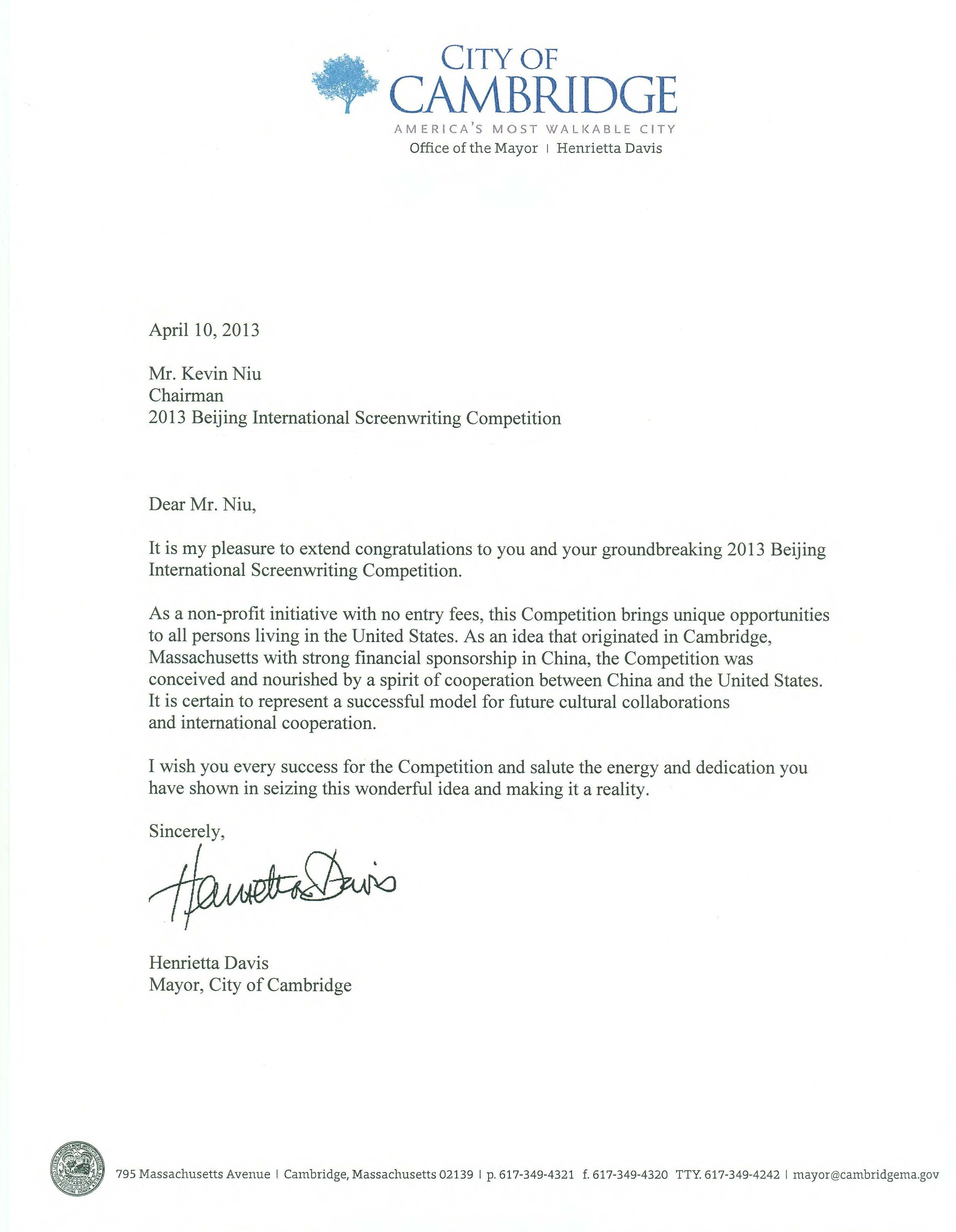 Congratulation Letters From Massachusetts Senator Warren Governor