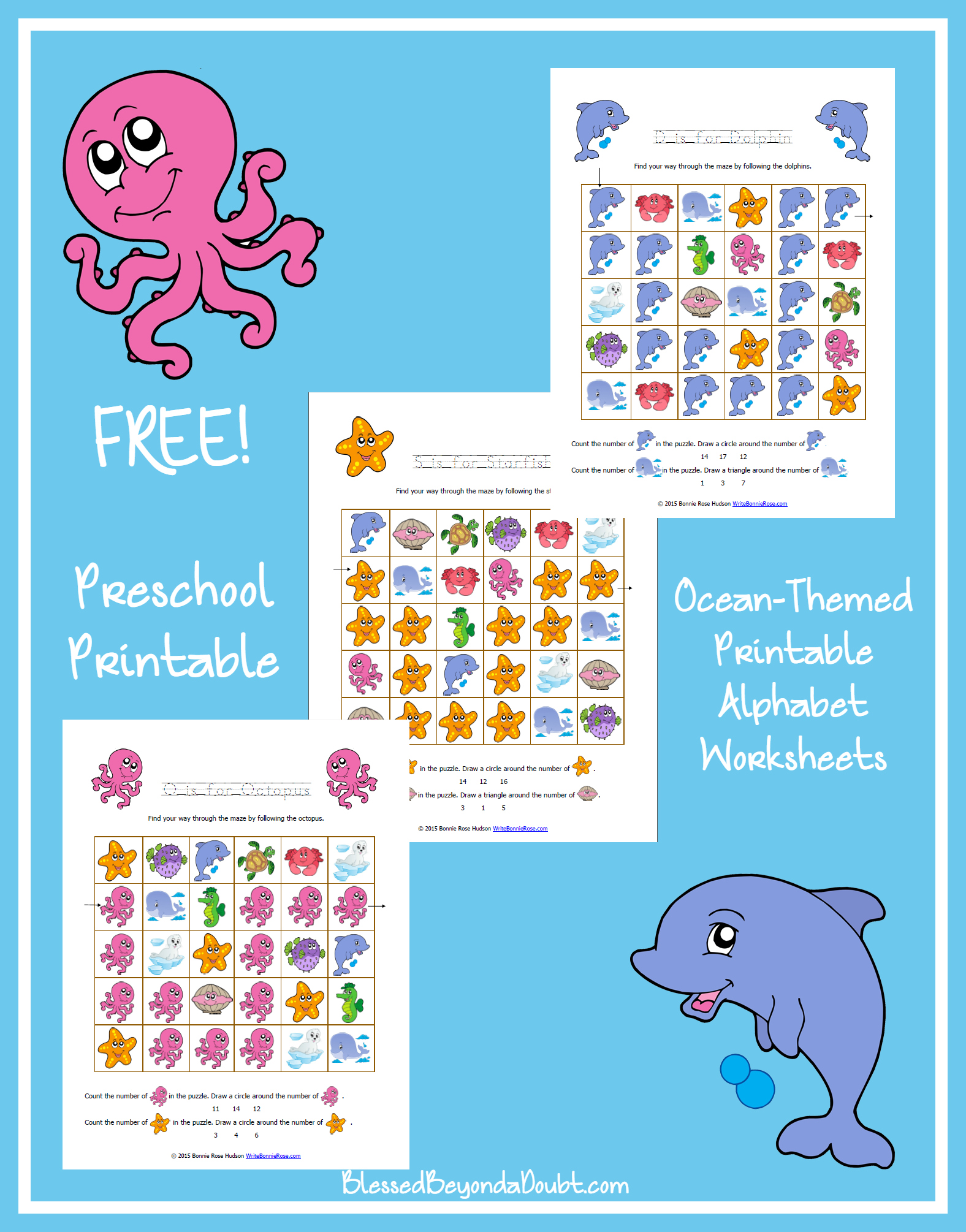 Free Ocean Themed Printable Alphabet Worksheets For Preschool