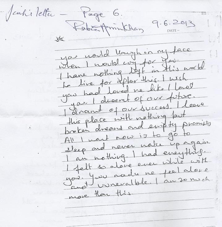 Handwriting Analysis of Jiah Khan's Letter