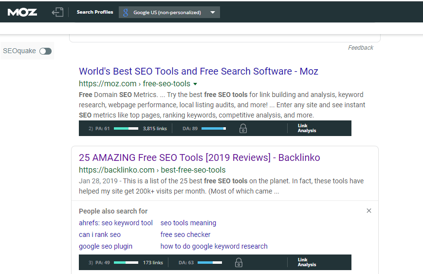 free content writing tools for seo - MozBar
