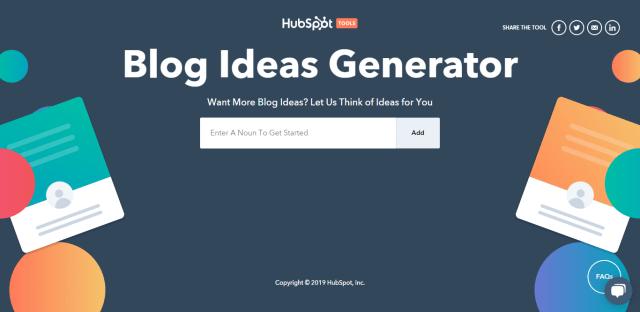 free content writing tools - Hubspot Blog Idea Generator