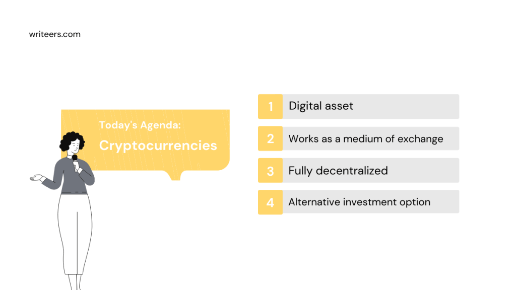 image listing the four basic features of cryptocurrencies