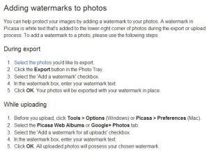 Google - adding Picassa watermarks