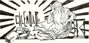Old father time contemplates the calendar. Vintage drawing