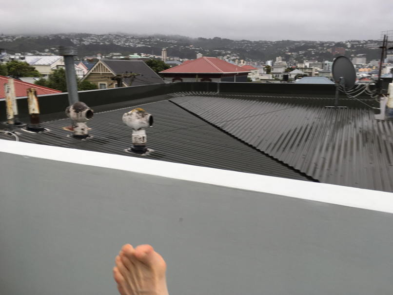 Wet roof over a wet city and one bare foot raised in a tai chi kick.