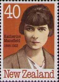 New Zealand postage stamp with portrait of Katherine Mansfield