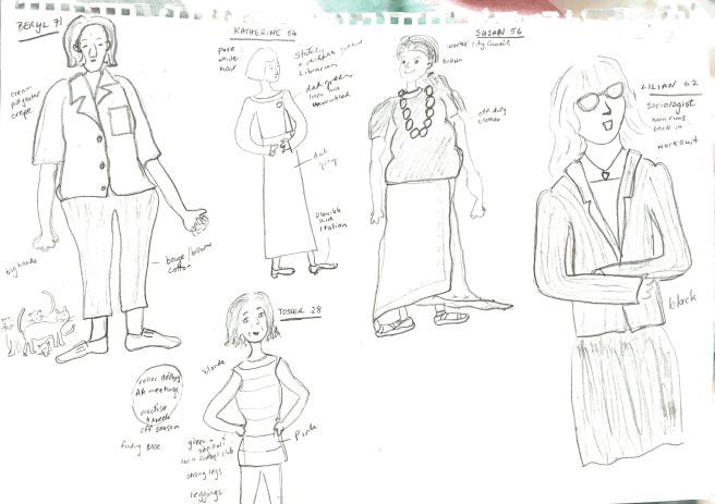Sketches of Beryl, Katherine, Susan, Lilian and Tessa: 5 characters in Fixing Mrs Philpott, a novel