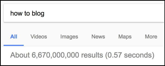 """Search results for """"how to blog"""": 6,670,000,000 results"""