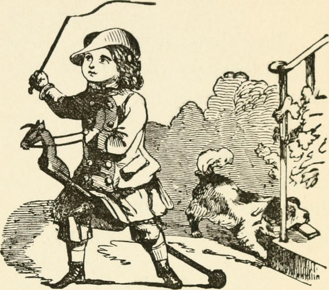 Boy on hobbyhorse, illustration from Little Songs, 1889 (public domain)
