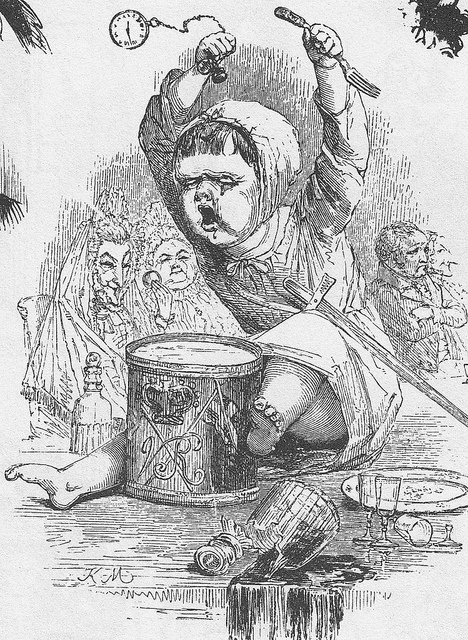 Old book illustration of a toddler in a tantrum hitting a drum with a watch and a fork