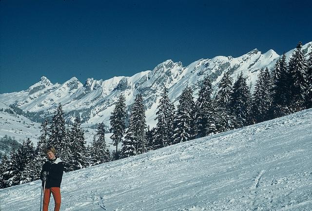 Rachel on ski-slope in Switzerland 1962
