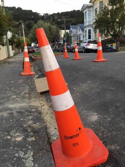Road cones in Queen Street