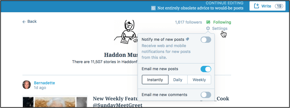 Screenshot of WordPress with Settings for notifications