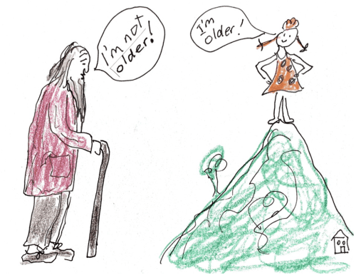 "Cartoon of old man saying ""I'm not older!"" and a young girl on a mountain saying, ""I'm older!"""